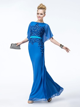 Sheath Appliques Beading Bateau Neckline Long Evening Dress