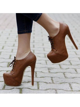 Attractive Closed Toe Stiletto Heel Lace Up Ankle Boots