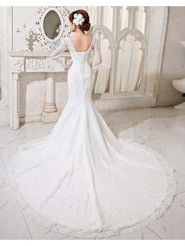 Gorgerous Trumpet Sequins Appliques Lace Wedding Dress