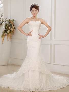 Graceful Beading Floor Length Cheap Train Sweetheart Trumpet Mermaid Wedding Dress