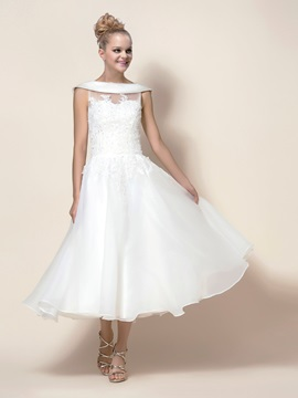 Style Zipper Up Tea Length Button A Line Wedding Dress