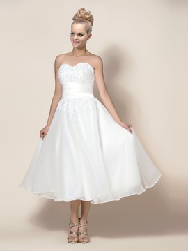 Simple Style Zipper Up Tea Length Button A Line Wedding Dress