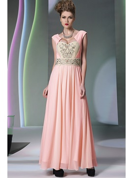 Distinctive A Line Embroidery Straps Long Evening Dress