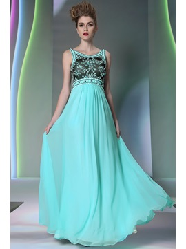 Morden Scoop Neckline Beading Lace Floor Length Evening Prom Dress