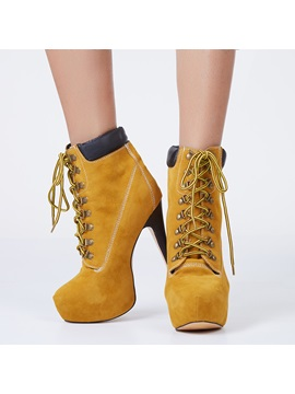 Fashion 2014 Camel Eyelet Lace Up Pattern Ankle Boots