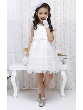 Cute Strapsless Bowknot Knee Length Flower Girl Dress With Jacket Shawl