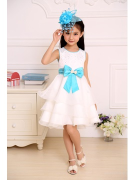 Cute Sashes Strapsless Knee Length Bowknot Flower Girl Dress
