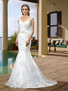 Simple Style V Neck Zipper Up Floor Length Beading Trumpet Mermaid Wedding Dress