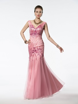 Wonderful Mermaid Trumpet Floor Length V Neck Beading Zipper Up Evening Dress