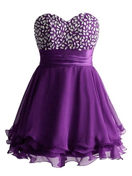 Sweetheart Beading Lace Up Short Homecoming Dress