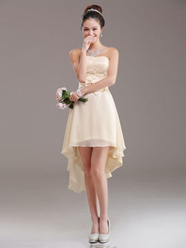 Simple A Line Bowknot Strapless Asymmetry Bridesmaid Dress