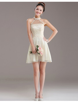 Simple Top Quality A Line Halter Short Mini Lace Up Appliques Bridesmaid Dress