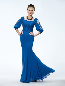 Stunning Trumpet Square Neck 3 4 Length Sleeve Appliques Mother Of The Bride Dress