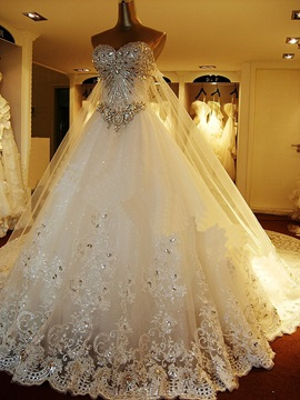 Luxurious Rhinestone Beaded Wedding Dress With Train