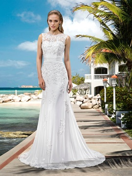 Elegant Mermaid Sweep Appliques A Line Wedding Dress