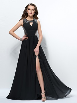 Glamorous Sequins Ruched A Line Empire Waistline Floor Length Evening Dress