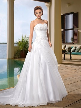 Popularable A Line Sweetheart Appliques Court Train Wedding Dress