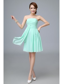 A Line Strapless Ruffles Empire Pure Colour Bridesmaid Dress