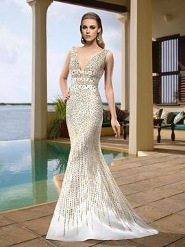 Sexy Enchanting Straps Beading Trumpet Mermaid Sweep Train Wedding Dress