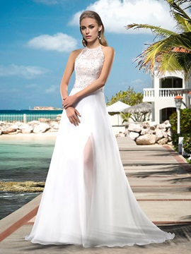 Sexy A Line Floor Length Halter Appilques Beading Sweep Brush Wedding Dress