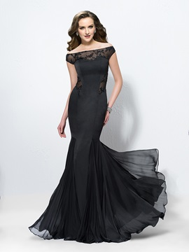 Elegant Trumpet Off The Shoulder Appliques Long Evening Dress Designed