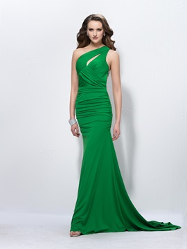 Stunning Trumpet Mermaid One Shoulder Beading Court Train Floor Length Evening Dress