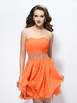 Gorgeous Beading Sweetheart A Line Short Pleats Homecoming Cocktail Dress