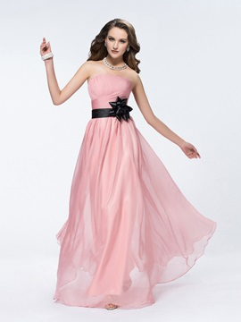 Popular Strapless Flower Ruched A Line Floor Length Bridesmaid Dress