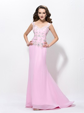 Straps Beading Appliques Zipper Up Sweep Train Floor Length Evening Dress