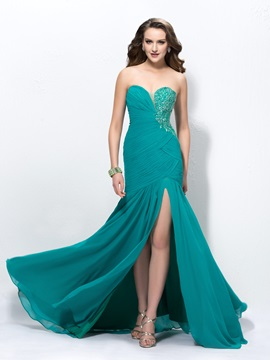 Graceful Sweetheart Sheath Beading Split Front Ruched Long Evening Dress