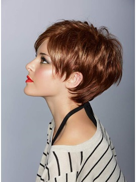 Custom Sassy Pixie Haircut 100 Human Remy Hair Monofilament Top Cap Wig About 8 Inches