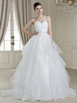 Dazzling Ball Gown Sweetheart Sweep Train Wedding Dress