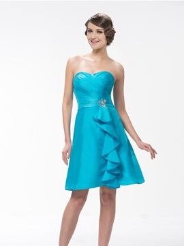 Simple Style A Line Sweetheart Neck Knee Length Beading Bridesmaid Dress