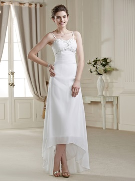 Loveable A Line Asymmetry Spaghetti Strap Sequins Wedding Dress