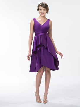 Pretty Ruffles V Neck Knee Length Zipper Up Bridesmaid Dress