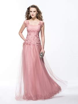 A Line Appliques Sweetheart Evening Dress