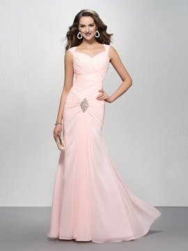 Elegant Mermaid Sweetheart Crystal Straps Ruched Floor Length Evening Dress