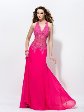 Glamorous V Neck Halter Sheath Appliques Long Evening Dress Designed