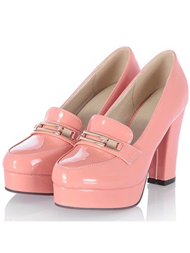 Elegant Metal Key Hole Chunky Heels Pink Shoes
