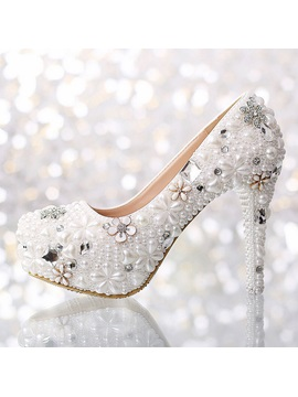 Pearl Flowers Closed Toe Stiletto Heel Wedding Shoes