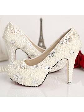 Aestheticism Pearl Flowers Closed Toe Stiletto Heel Wedding Shoes