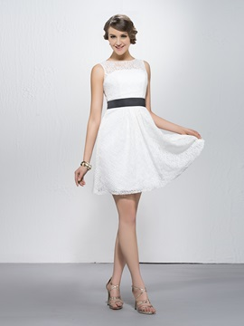 Lace Short Sashes Ribbons Bateau Neckline Straps Homecoming Bridesmaid Dress