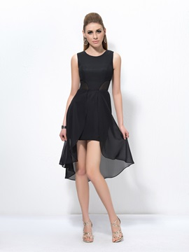 Simple A Line Scoop Neck Zipper Up Asymmetry Cocktail Dress