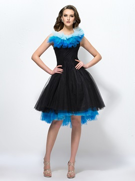 Enchanting A Line Pleats Knee Length Tiered Straps Party Dress