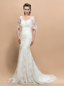 Beautiful Lace Mermaid Trumpet Half Sleeves Court Train Wedding Dress