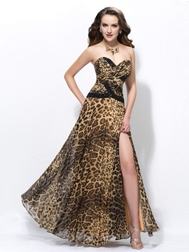 Sexy A Line Floor Length Sweetheart Split Front Leopard Print Beading Evening Dress