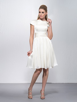 Cheap Bateau Neck Short Sleeves A Line Knee Length Party Dress