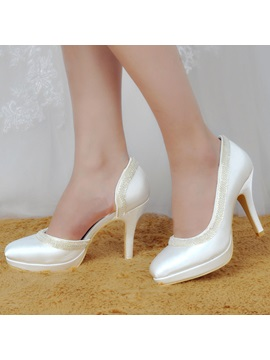 White Satin Closed Toe Beading Stiletto Heel Wedding Shoes