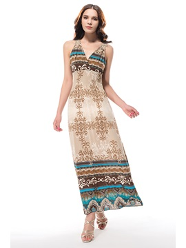 New Elegant Wrapped Neck Bohemian Summer Maxi Dress