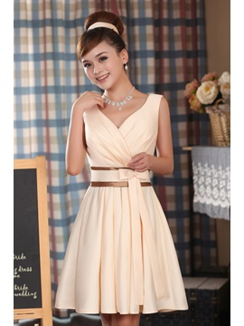 Simple A Line Knee Length V Neck Ruffles Sash Bowknot Bridesmaid Dress